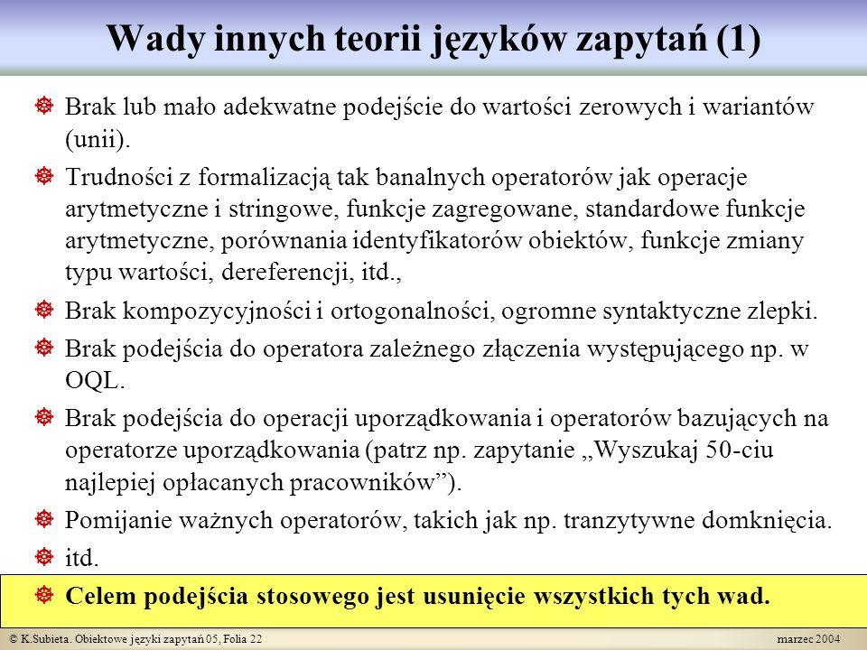 © K.Subieta.Obiektowe języki zapytań 05, Folia 23 marzec 2004 Czy teorie są potrzebne.