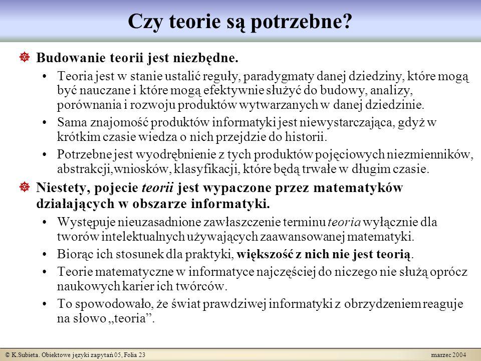 © K.Subieta.Obiektowe języki zapytań 05, Folia 24 marzec 2004 Czym powinna być teoria.