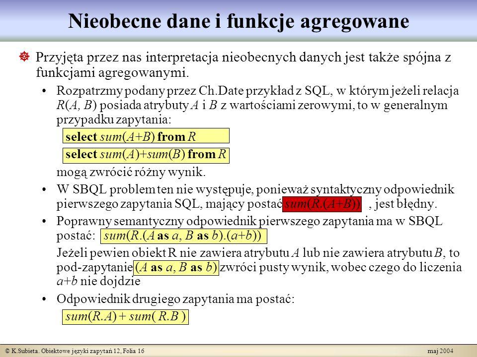 © K.Subieta. Obiektowe języki zapytań 12, Folia 16 maj 2004 Nieobecne dane i funkcje agregowane Przyjęta przez nas interpretacja nieobecnych danych je