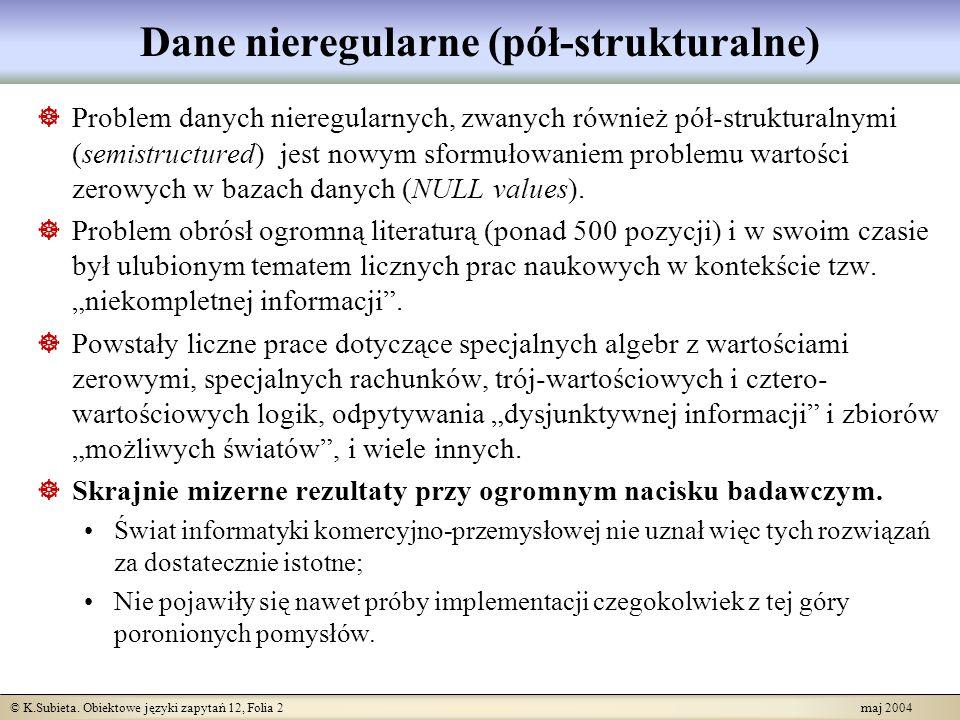 © K.Subieta. Obiektowe języki zapytań 12, Folia 2 maj 2004 Dane nieregularne (pół-strukturalne) Problem danych nieregularnych, zwanych również pół-str