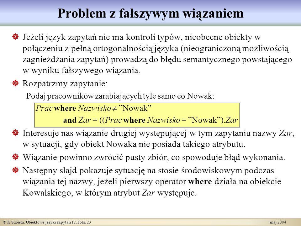 © K.Subieta. Obiektowe języki zapytań 12, Folia 23 maj 2004 Problem z fałszywym wiązaniem Jeżeli język zapytań nie ma kontroli typów, nieobecne obiekt