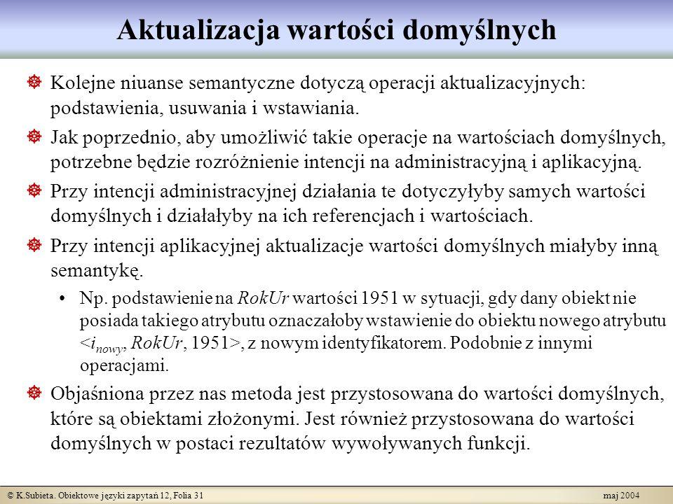 © K.Subieta. Obiektowe języki zapytań 12, Folia 31 maj 2004 Aktualizacja wartości domyślnych Kolejne niuanse semantyczne dotyczą operacji aktualizacyj