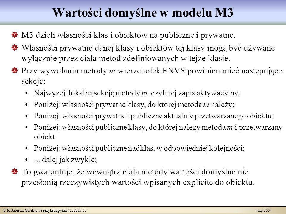 © K.Subieta. Obiektowe języki zapytań 12, Folia 32 maj 2004 Wartości domyślne w modelu M3 M3 dzieli własności klas i obiektów na publiczne i prywatne.