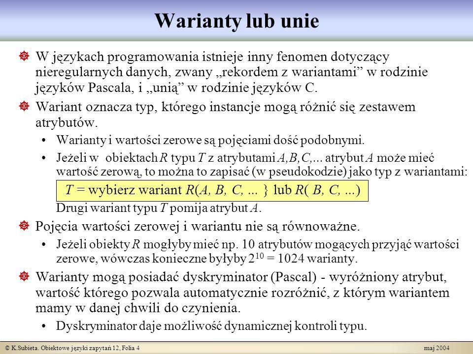 © K.Subieta. Obiektowe języki zapytań 12, Folia 4 maj 2004 Warianty lub unie W językach programowania istnieje inny fenomen dotyczący nieregularnych d