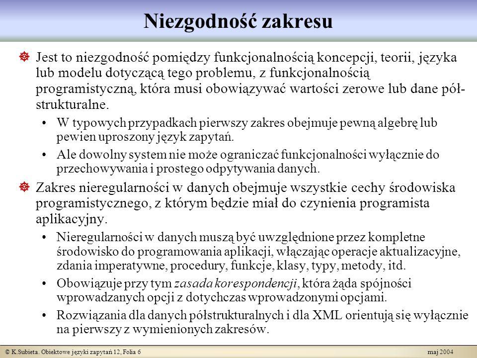 © K.Subieta. Obiektowe języki zapytań 12, Folia 6 maj 2004 Niezgodność zakresu Jest to niezgodność pomiędzy funkcjonalnością koncepcji, teorii, języka