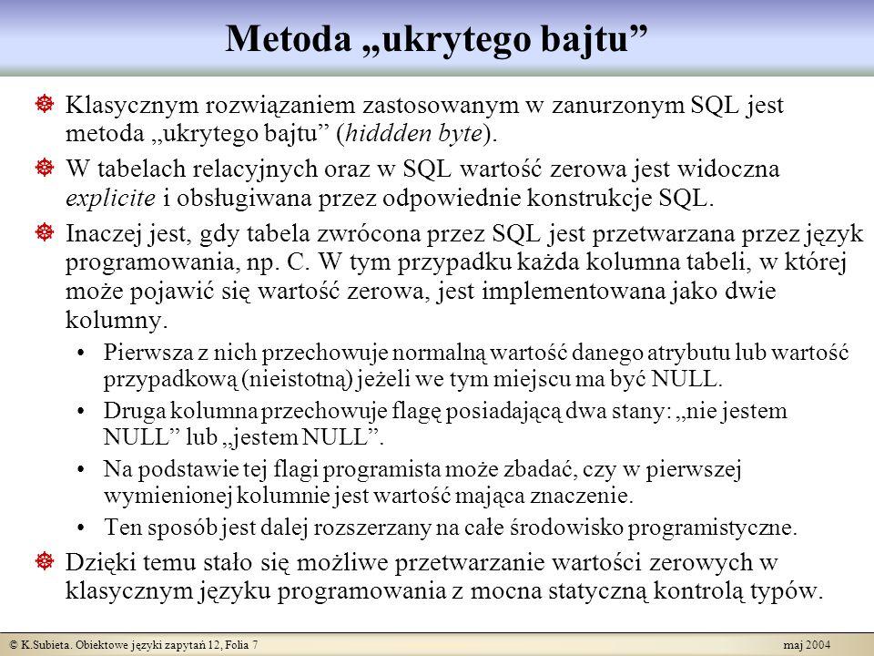 © K.Subieta. Obiektowe języki zapytań 12, Folia 7 maj 2004 Metoda ukrytego bajtu Klasycznym rozwiązaniem zastosowanym w zanurzonym SQL jest metoda ukr