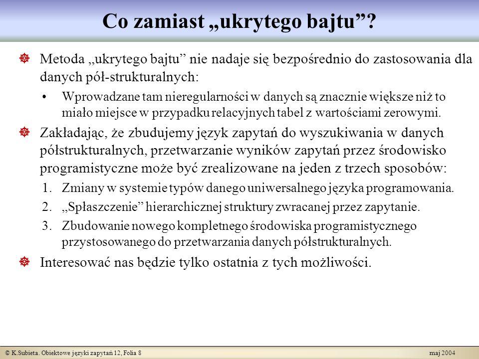 © K.Subieta. Obiektowe języki zapytań 12, Folia 8 maj 2004 Co zamiast ukrytego bajtu? Metoda ukrytego bajtu nie nadaje się bezpośrednio do zastosowani