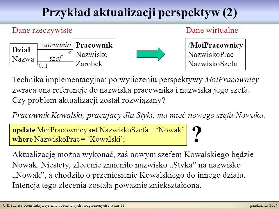 © K.Subieta. Konstrukcja systemów obiektowych i rozproszonych 2, Folia 11 październik 2004 Przykład aktualizacji perspektyw (2) Dane rzeczywisteDane w