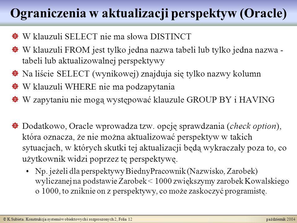 © K.Subieta. Konstrukcja systemów obiektowych i rozproszonych 2, Folia 12 październik 2004 Ograniczenia w aktualizacji perspektyw (Oracle) W klauzuli