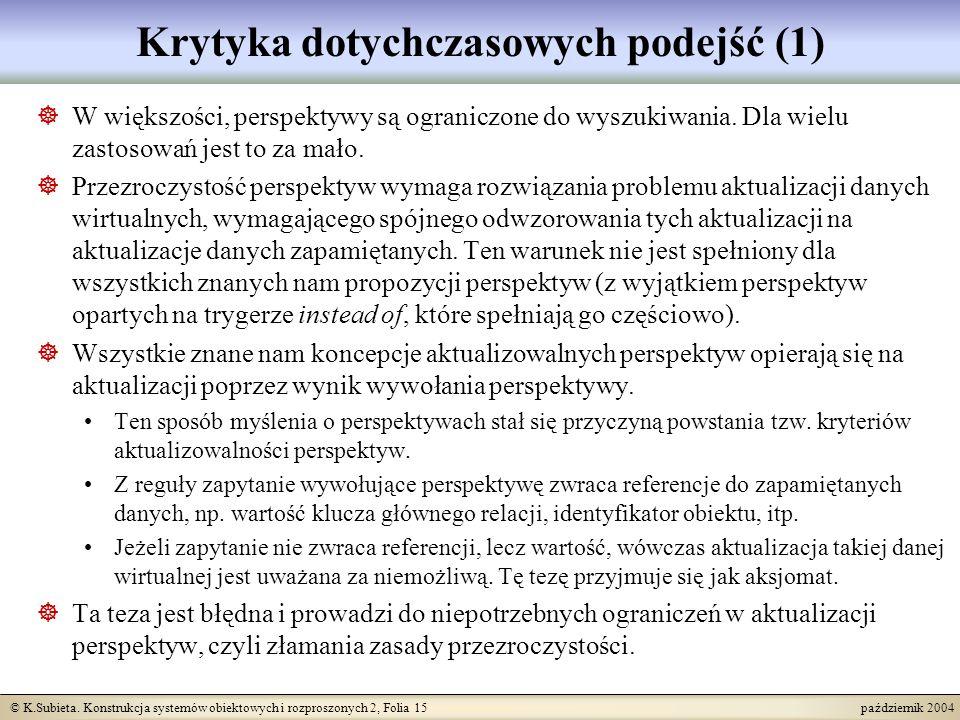 © K.Subieta. Konstrukcja systemów obiektowych i rozproszonych 2, Folia 15 październik 2004 Krytyka dotychczasowych podejść (1) W większości, perspekty