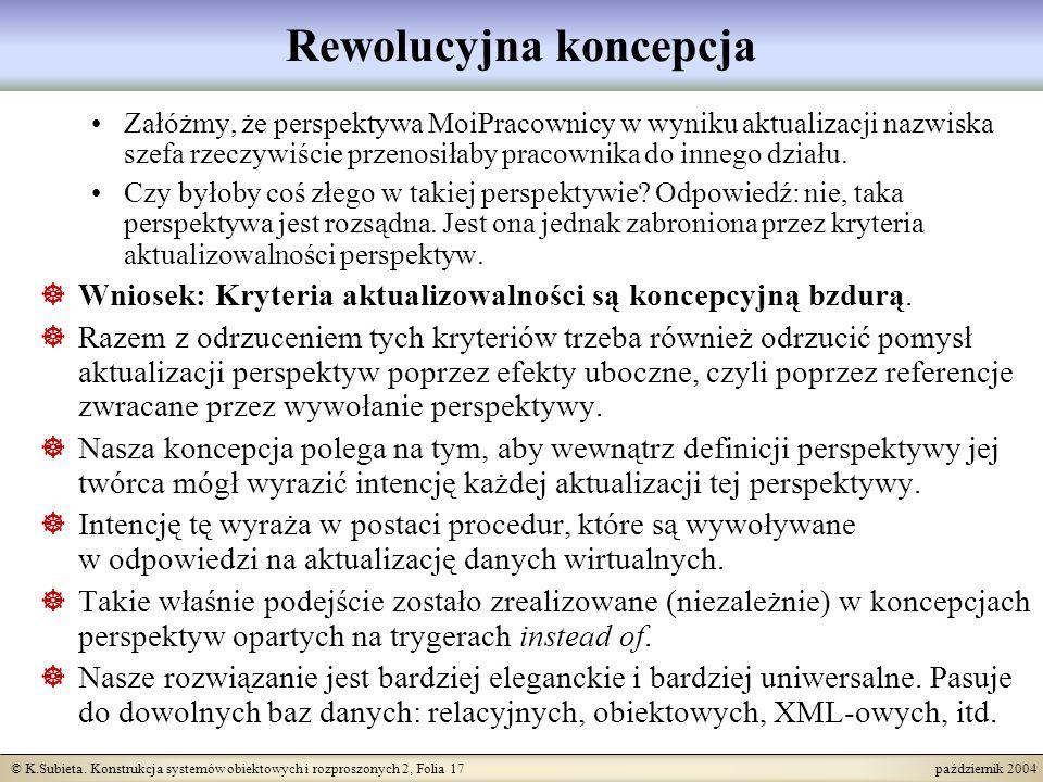 © K.Subieta. Konstrukcja systemów obiektowych i rozproszonych 2, Folia 17 październik 2004 Rewolucyjna koncepcja Załóżmy, że perspektywa MoiPracownicy