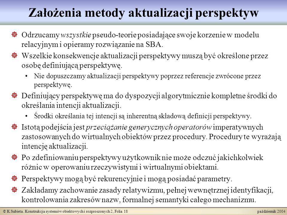 © K.Subieta. Konstrukcja systemów obiektowych i rozproszonych 2, Folia 18 październik 2004 Założenia metody aktualizacji perspektyw Odrzucamy wszystki