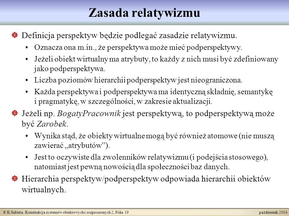 © K.Subieta. Konstrukcja systemów obiektowych i rozproszonych 2, Folia 19 październik 2004 Zasada relatywizmu Definicja perspektyw będzie podlegać zas