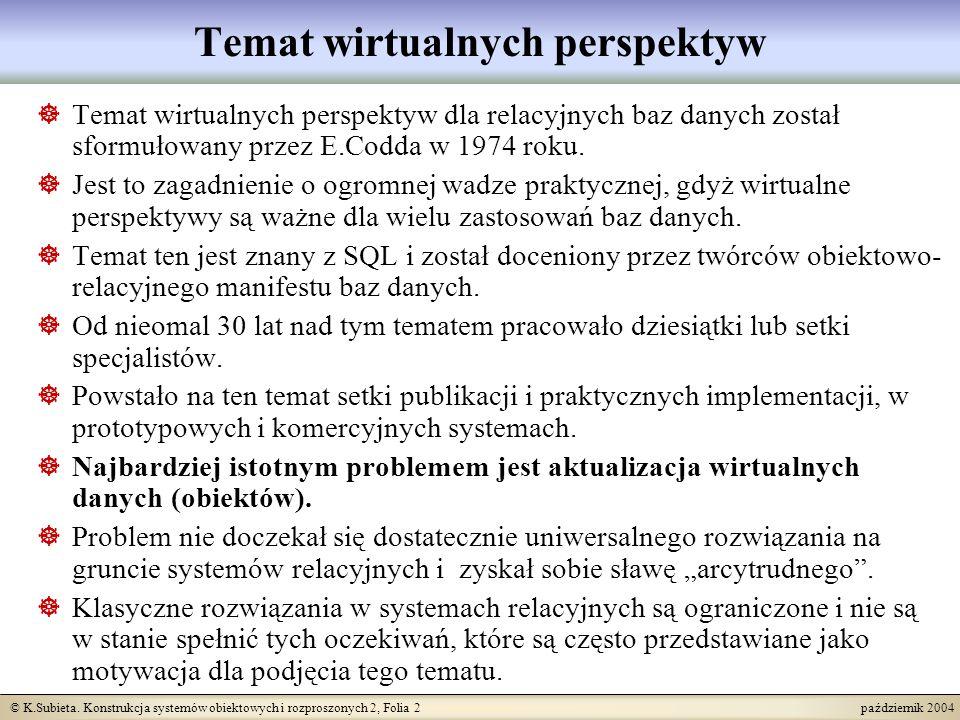 © K.Subieta. Konstrukcja systemów obiektowych i rozproszonych 2, Folia 2 październik 2004 Temat wirtualnych perspektyw Temat wirtualnych perspektyw dl