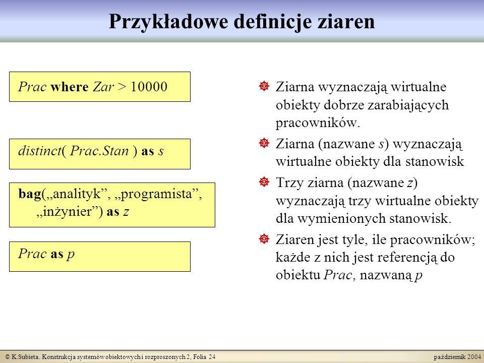 © K.Subieta. Konstrukcja systemów obiektowych i rozproszonych 2, Folia 24 październik 2004 Przykładowe definicje ziaren Prac where Zar > 10000 distinc