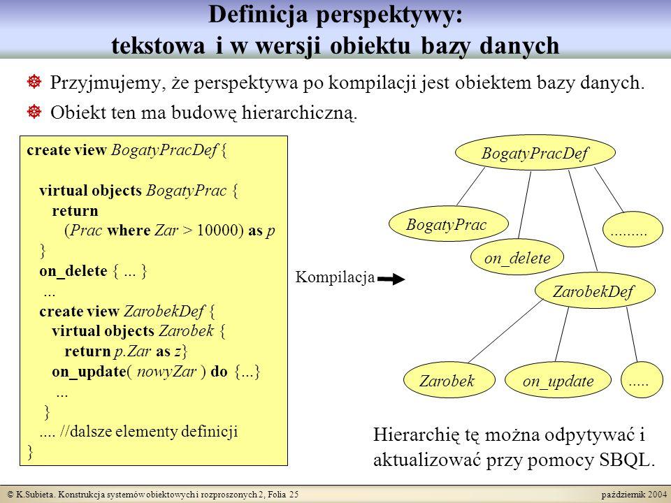 © K.Subieta. Konstrukcja systemów obiektowych i rozproszonych 2, Folia 25 październik 2004 Definicja perspektywy: tekstowa i w wersji obiektu bazy dan