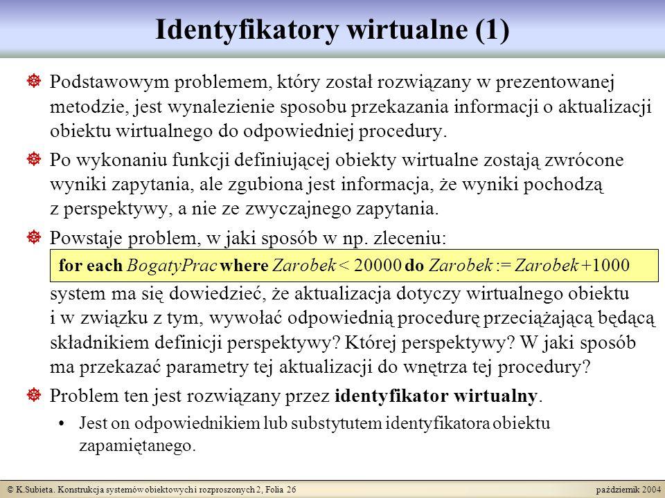 © K.Subieta. Konstrukcja systemów obiektowych i rozproszonych 2, Folia 26 październik 2004 Identyfikatory wirtualne (1) Podstawowym problemem, który z