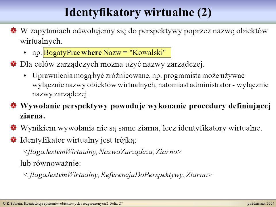 © K.Subieta. Konstrukcja systemów obiektowych i rozproszonych 2, Folia 27 październik 2004 Identyfikatory wirtualne (2) W zapytaniach odwołujemy się d