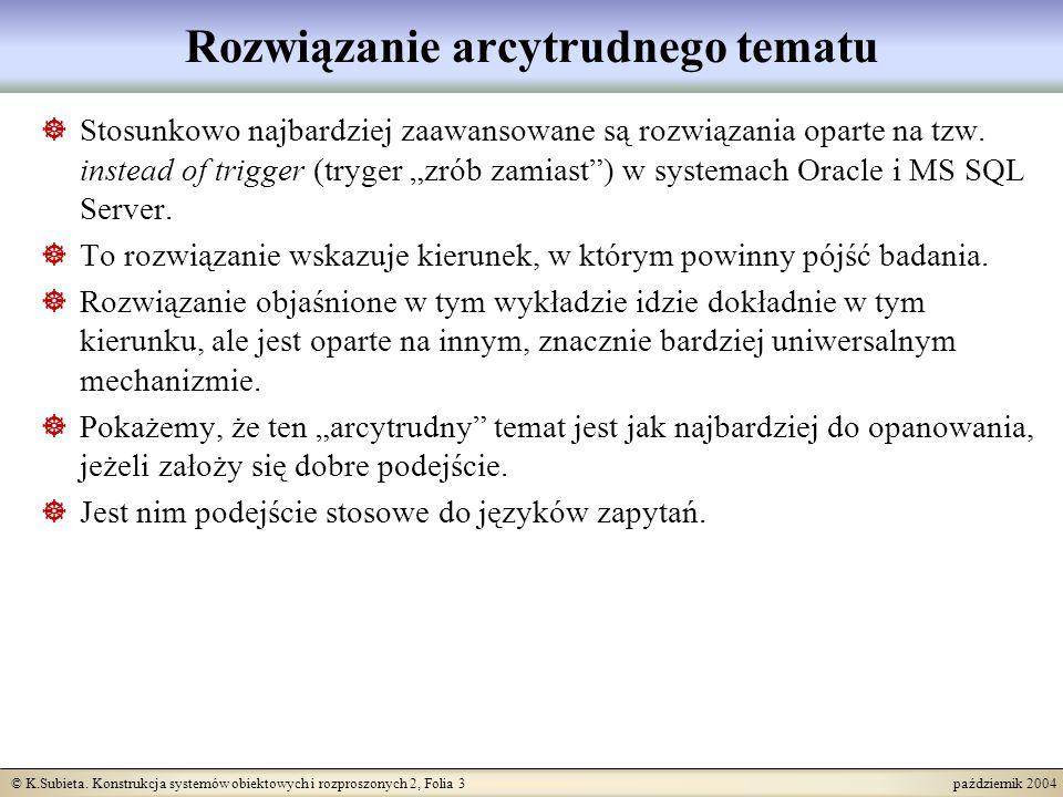© K.Subieta. Konstrukcja systemów obiektowych i rozproszonych 2, Folia 3 październik 2004 Rozwiązanie arcytrudnego tematu Stosunkowo najbardziej zaawa