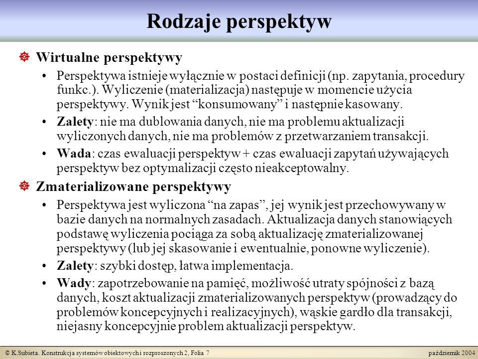 © K.Subieta. Konstrukcja systemów obiektowych i rozproszonych 2, Folia 7 październik 2004 Rodzaje perspektyw Wirtualne perspektywy Perspektywa istniej