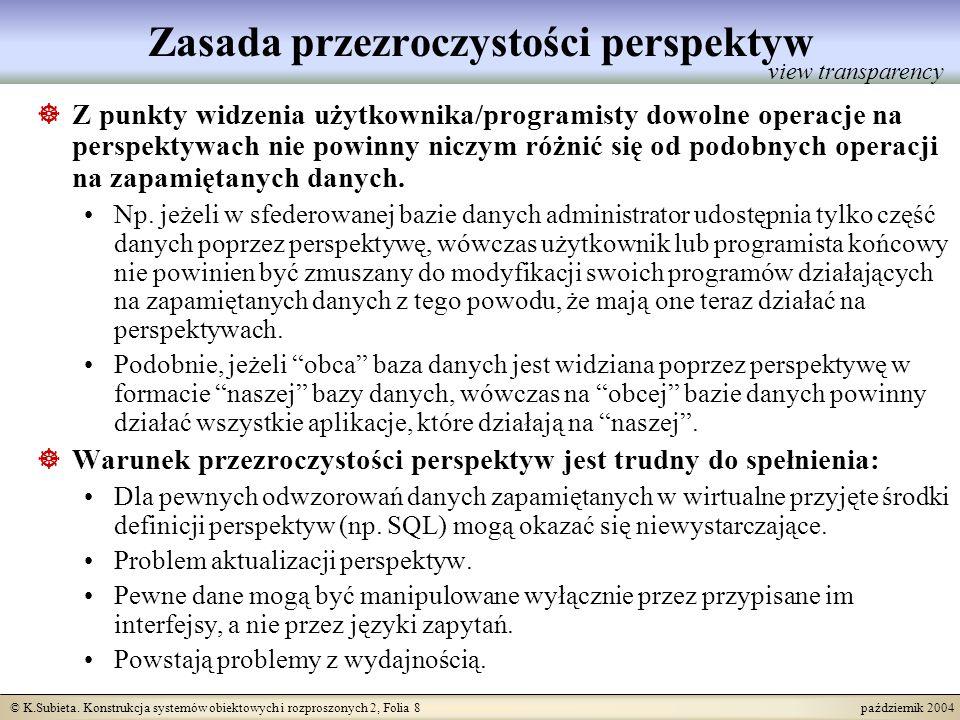 © K.Subieta. Konstrukcja systemów obiektowych i rozproszonych 2, Folia 8 październik 2004 Zasada przezroczystości perspektyw Z punkty widzenia użytkow