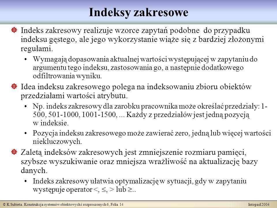 © K.Subieta. Konstrukcja systemów obiektowych i rozproszonych 6, Folia 14 listopad 2004 Indeksy zakresowe Indeks zakresowy realizuje wzorce zapytań po