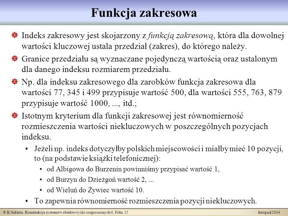 © K.Subieta. Konstrukcja systemów obiektowych i rozproszonych 6, Folia 15 listopad 2004 Funkcja zakresowa Indeks zakresowy jest skojarzony z funkcją z