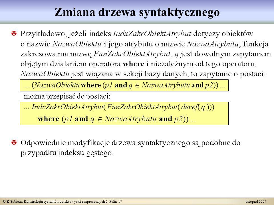© K.Subieta. Konstrukcja systemów obiektowych i rozproszonych 6, Folia 17 listopad 2004 Zmiana drzewa syntaktycznego Przykładowo, jeżeli indeks IndxZa