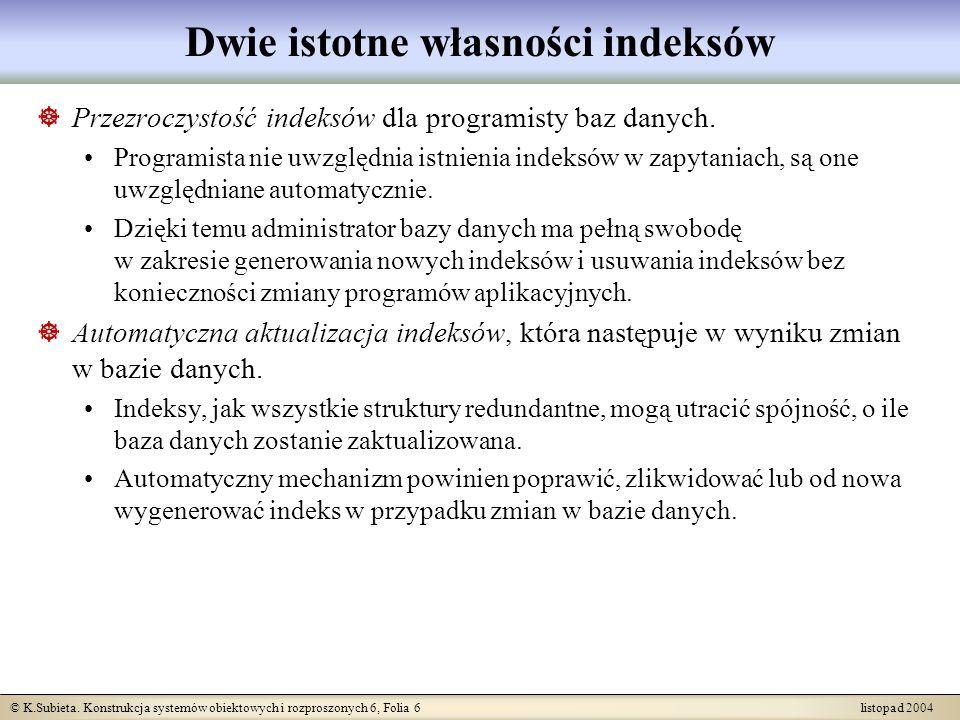 © K.Subieta. Konstrukcja systemów obiektowych i rozproszonych 6, Folia 6 listopad 2004 Dwie istotne własności indeksów Przezroczystość indeksów dla pr