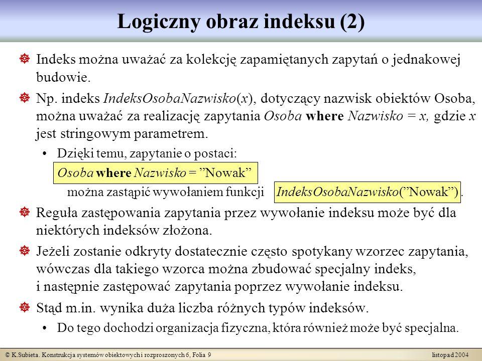 © K.Subieta. Konstrukcja systemów obiektowych i rozproszonych 6, Folia 9 listopad 2004 Logiczny obraz indeksu (2) Indeks można uważać za kolekcję zapa