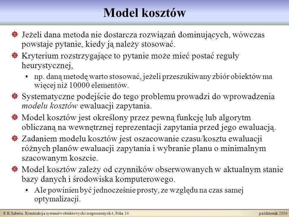 © K.Subieta. Konstrukcja systemów obiektowych i rozproszonych 4, Folia 14 październik 2004 Model kosztów Jeżeli dana metoda nie dostarcza rozwiązań do