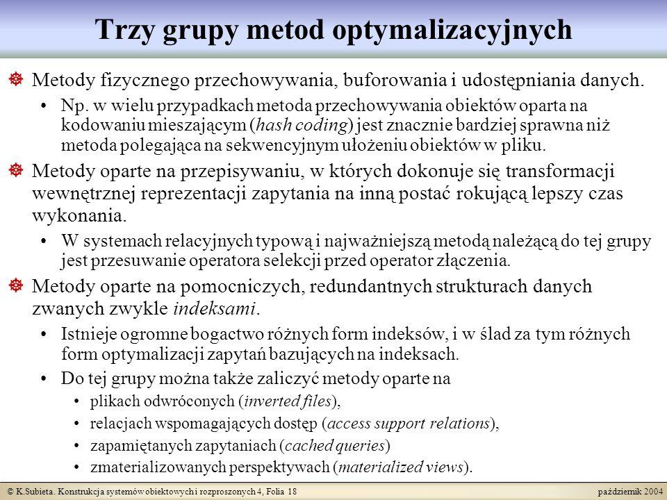 © K.Subieta. Konstrukcja systemów obiektowych i rozproszonych 4, Folia 18 październik 2004 Trzy grupy metod optymalizacyjnych Metody fizycznego przech