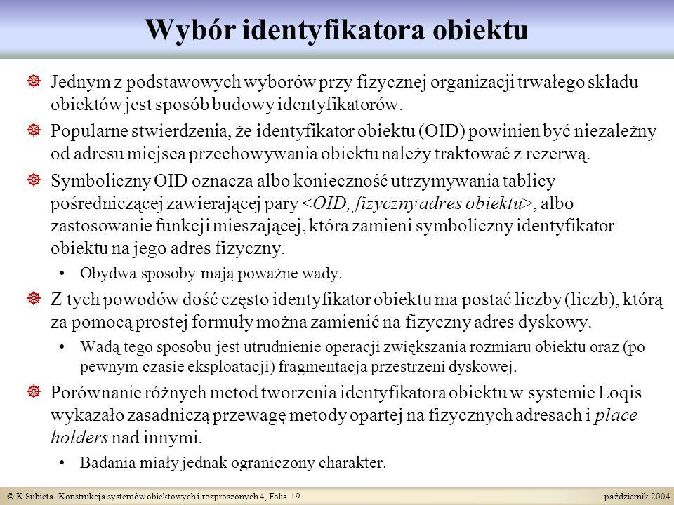© K.Subieta. Konstrukcja systemów obiektowych i rozproszonych 4, Folia 19 październik 2004 Wybór identyfikatora obiektu Jednym z podstawowych wyborów
