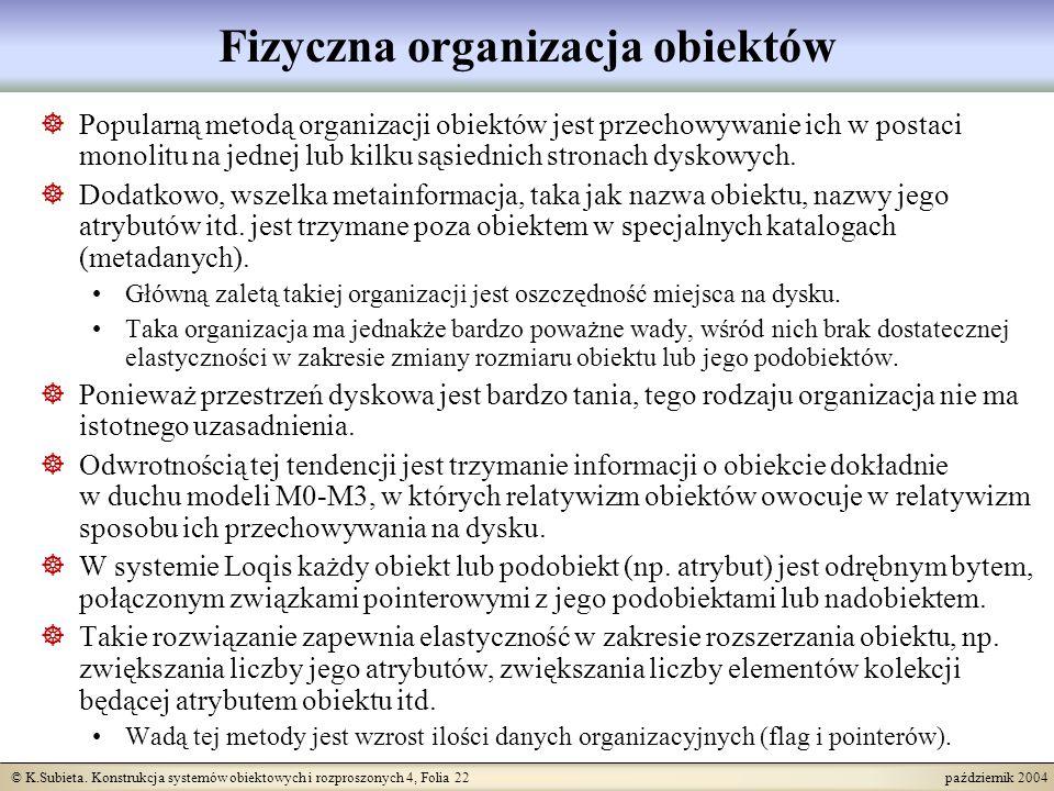 © K.Subieta. Konstrukcja systemów obiektowych i rozproszonych 4, Folia 22 październik 2004 Fizyczna organizacja obiektów Popularną metodą organizacji