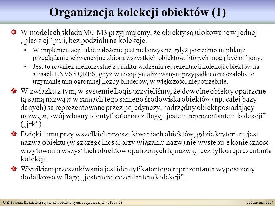 © K.Subieta. Konstrukcja systemów obiektowych i rozproszonych 4, Folia 23 październik 2004 Organizacja kolekcji obiektów (1) W modelach składu M0-M3 p