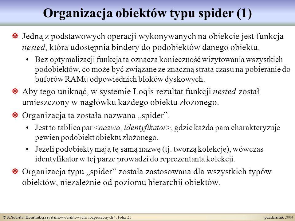 © K.Subieta. Konstrukcja systemów obiektowych i rozproszonych 4, Folia 25 październik 2004 Organizacja obiektów typu spider (1) Jedną z podstawowych o