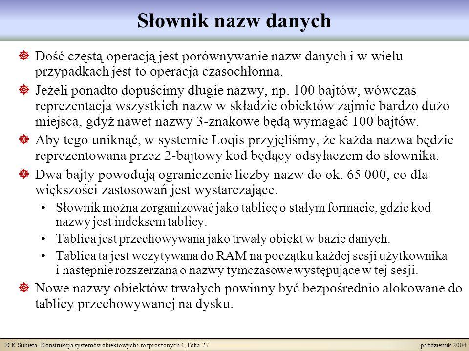 © K.Subieta. Konstrukcja systemów obiektowych i rozproszonych 4, Folia 27 październik 2004 Słownik nazw danych Dość częstą operacją jest porównywanie