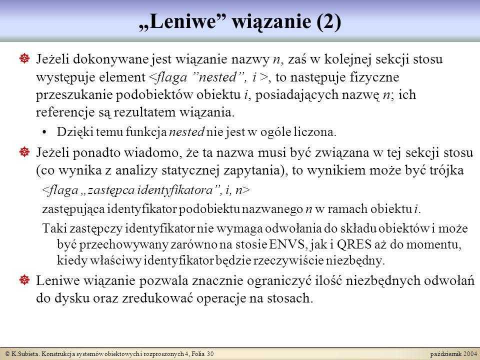 © K.Subieta. Konstrukcja systemów obiektowych i rozproszonych 4, Folia 30 październik 2004 Leniwe wiązanie (2) Jeżeli dokonywane jest wiązanie nazwy n