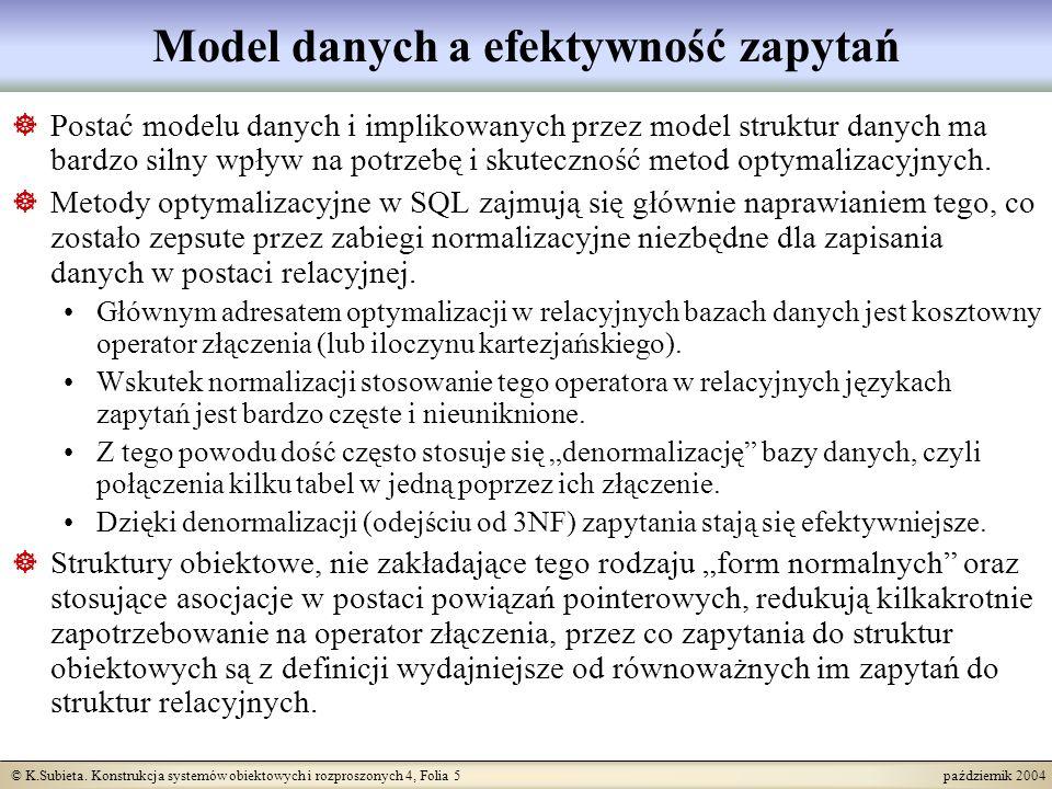 © K.Subieta. Konstrukcja systemów obiektowych i rozproszonych 4, Folia 5 październik 2004 Model danych a efektywność zapytań Postać modelu danych i im