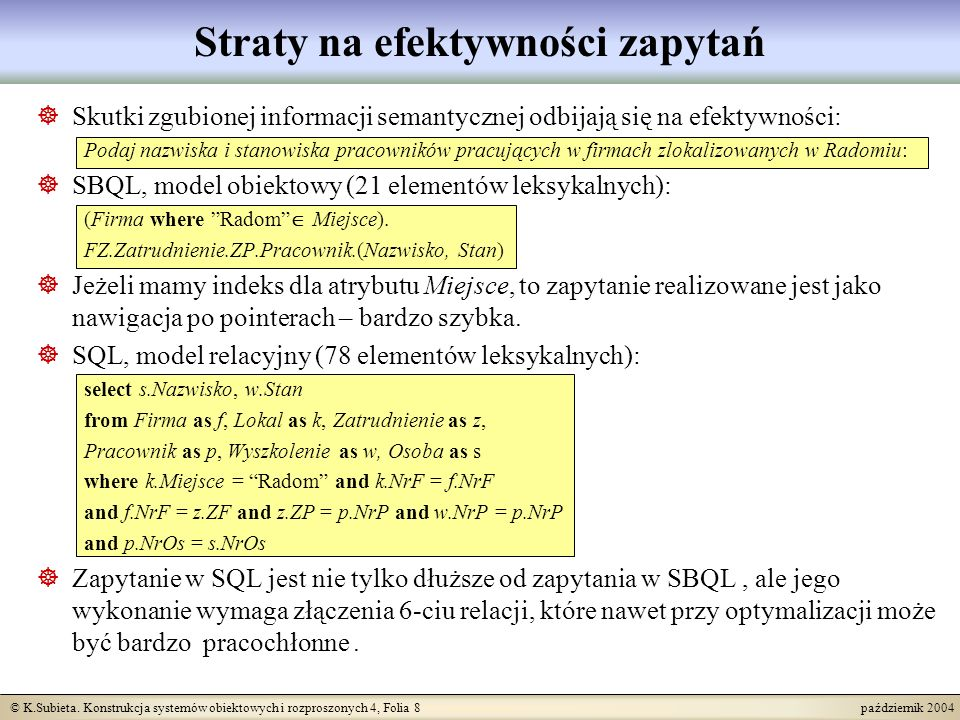 © K.Subieta. Konstrukcja systemów obiektowych i rozproszonych 4, Folia 8 październik 2004 Straty na efektywności zapytań Skutki zgubionej informacji s