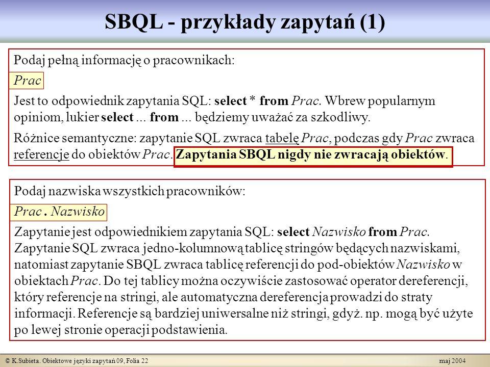 © K.Subieta. Obiektowe języki zapytań 09, Folia 22 maj 2004 Podaj pełną informację o pracownikach: Prac Jest to odpowiednik zapytania SQL: select * fr