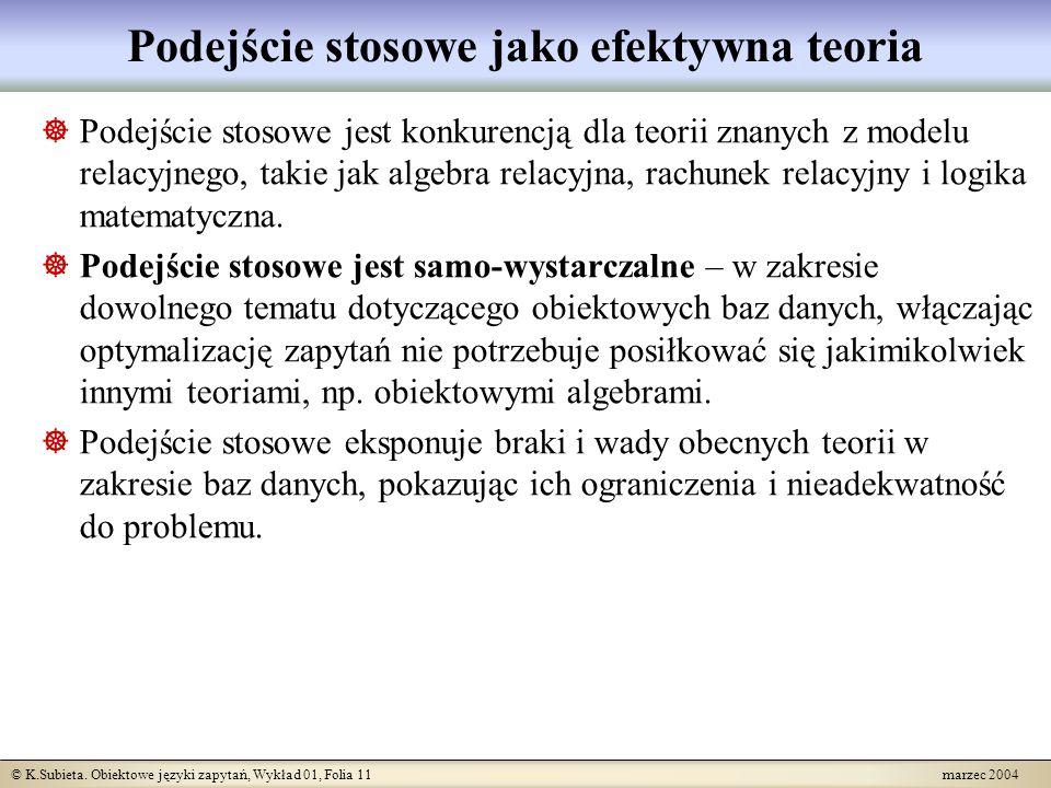 © K.Subieta. Obiektowe języki zapytań, Wykład 01, Folia 11 marzec 2004 Podejście stosowe jako efektywna teoria Podejście stosowe jest konkurencją dla