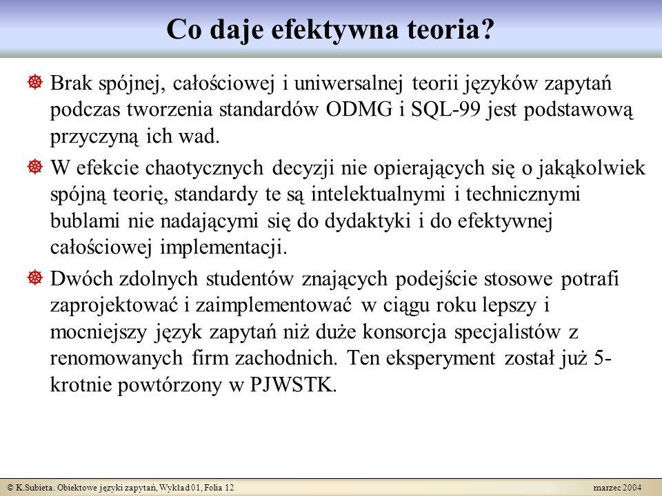 © K.Subieta. Obiektowe języki zapytań, Wykład 01, Folia 12 marzec 2004 Co daje efektywna teoria? Brak spójnej, całościowej i uniwersalnej teorii język