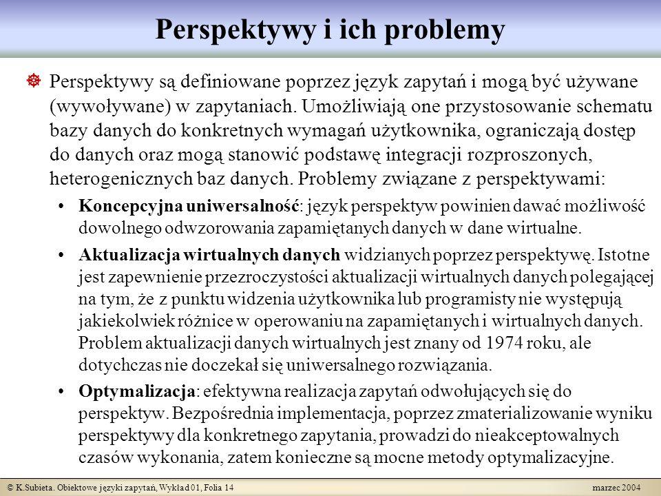 © K.Subieta. Obiektowe języki zapytań, Wykład 01, Folia 14 marzec 2004 Perspektywy i ich problemy Perspektywy są definiowane poprzez język zapytań i m