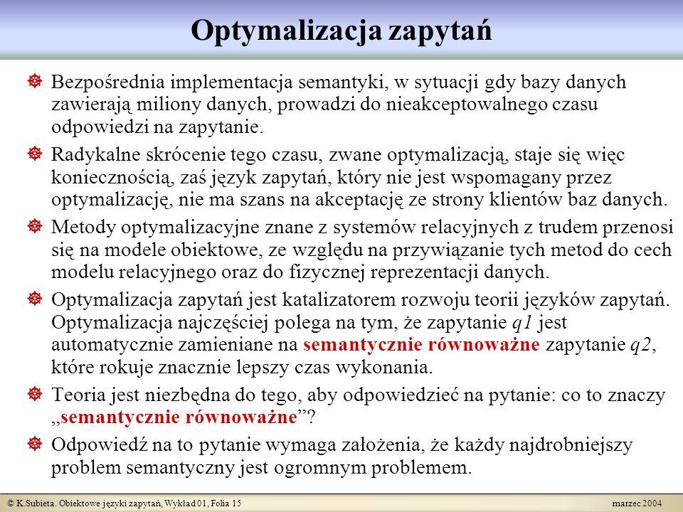 © K.Subieta. Obiektowe języki zapytań, Wykład 01, Folia 15 marzec 2004 Optymalizacja zapytań Bezpośrednia implementacja semantyki, w sytuacji gdy bazy