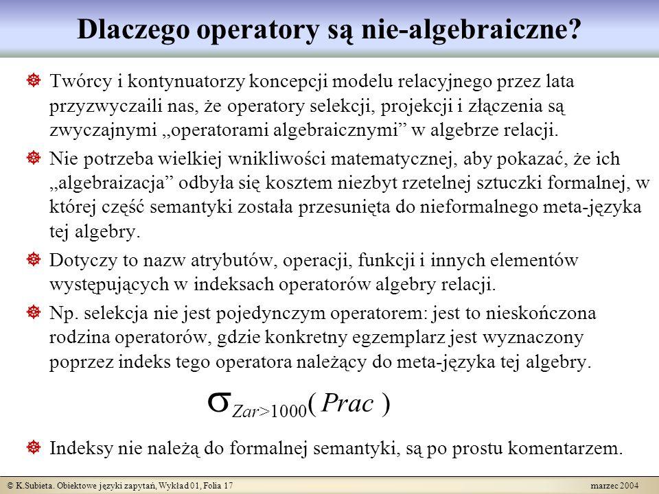 © K.Subieta. Obiektowe języki zapytań, Wykład 01, Folia 17 marzec 2004 Dlaczego operatory są nie-algebraiczne? Twórcy i kontynuatorzy koncepcji modelu
