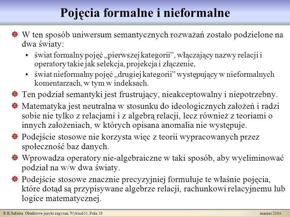 © K.Subieta. Obiektowe języki zapytań, Wykład 01, Folia 18 marzec 2004 Pojęcia formalne i nieformalne W ten sposób uniwersum semantycznych rozważań zo