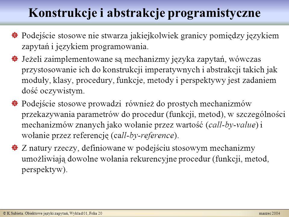 © K.Subieta. Obiektowe języki zapytań, Wykład 01, Folia 20 marzec 2004 Konstrukcje i abstrakcje programistyczne Podejście stosowe nie stwarza jakiejko