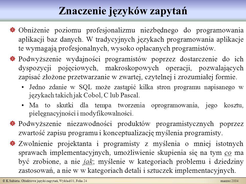 © K.Subieta. Obiektowe języki zapytań, Wykład 01, Folia 24 marzec 2004 Znaczenie języków zapytań Obniżenie poziomu profesjonalizmu niezbędnego do prog
