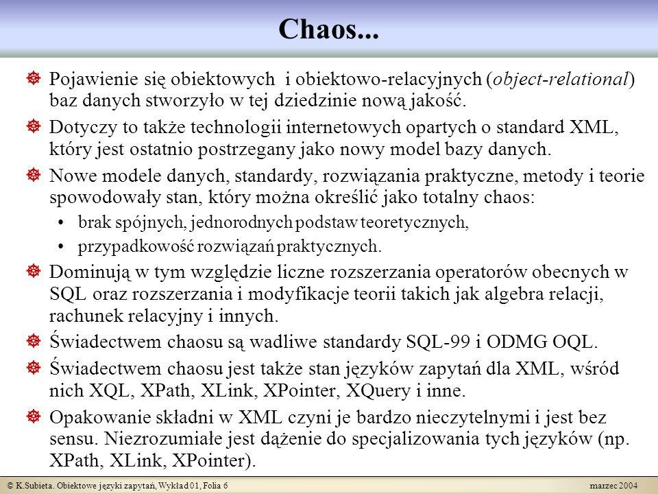© K.Subieta. Obiektowe języki zapytań, Wykład 01, Folia 6 marzec 2004 Chaos... Pojawienie się obiektowych i obiektowo-relacyjnych (object-relational)